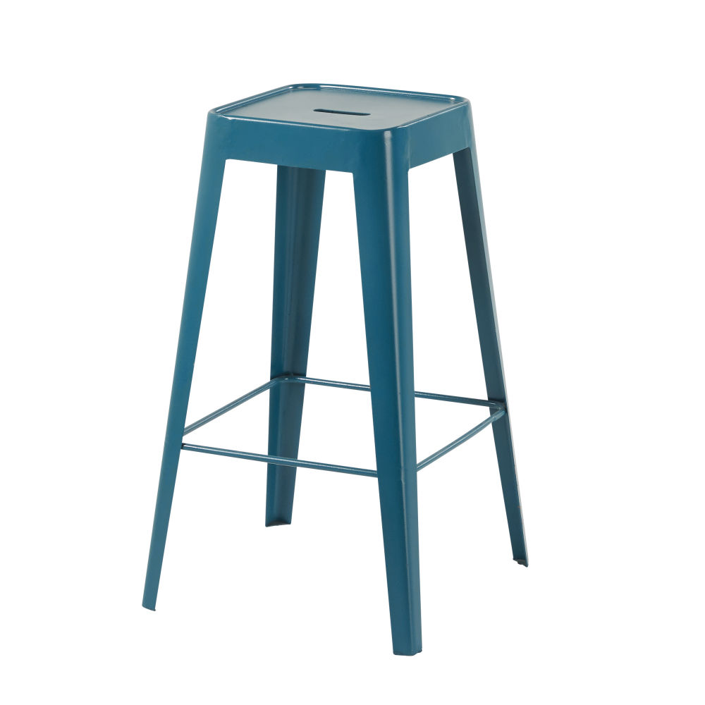 Tabouret de bar en métal bleu pétrole Tom (photo)
