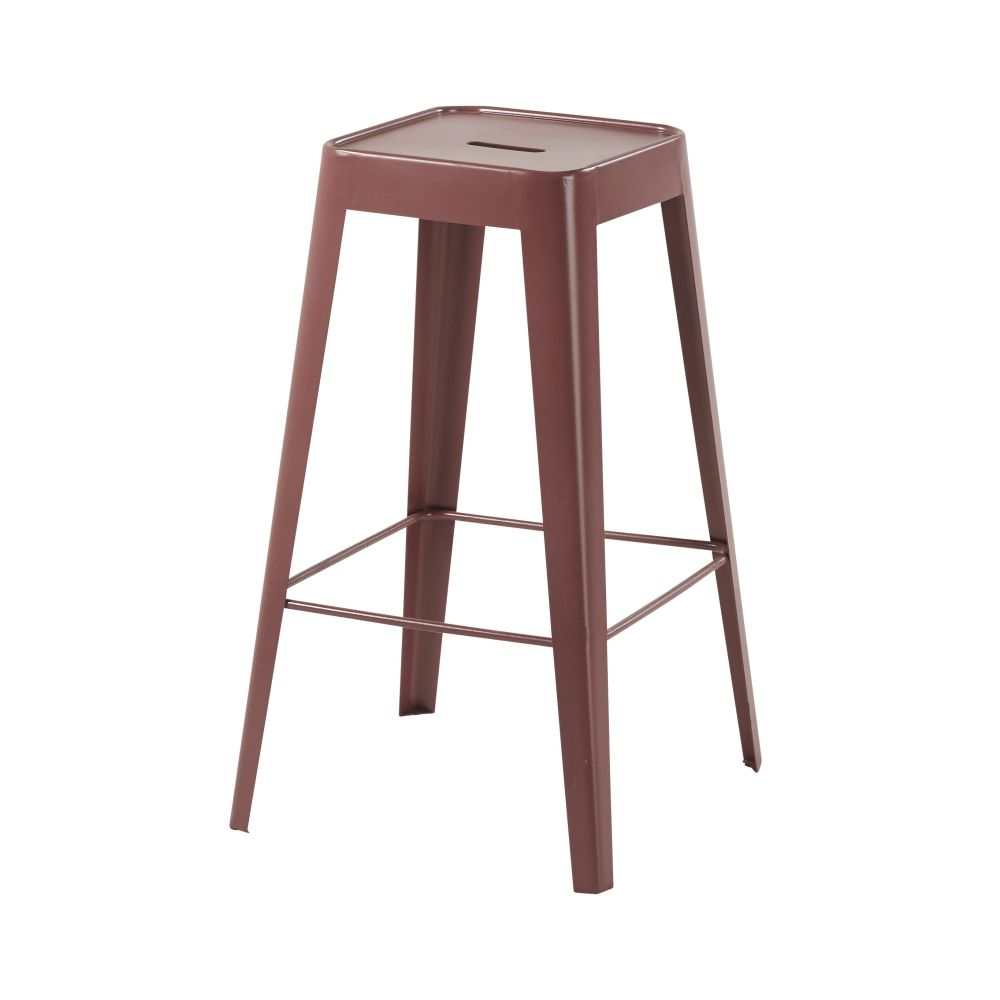Tabouret de bar en métal bordeaux Tom (photo)