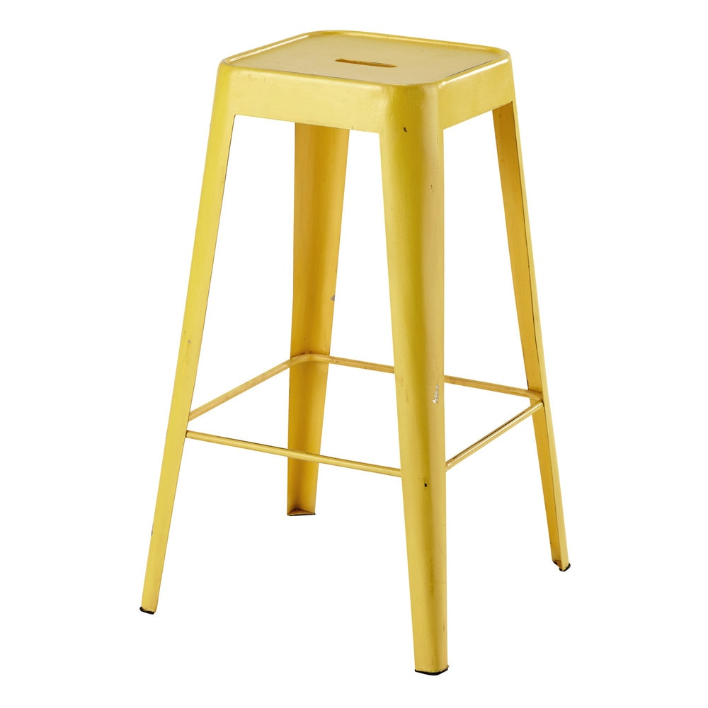 Tabouret de bar en métal jaune Tom (photo)