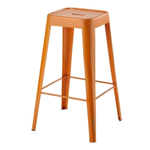 tabouret de bar en m tal orange tom maisons du monde. Black Bedroom Furniture Sets. Home Design Ideas