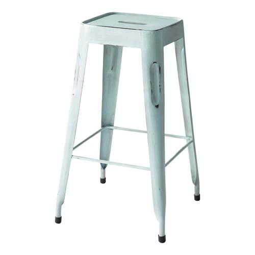 tabouret de bar indus bleu vintage jim maisons du monde. Black Bedroom Furniture Sets. Home Design Ideas