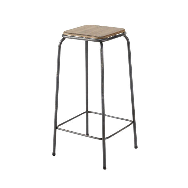 Tabouret de bar indus en bois et métal Kraft (photo)
