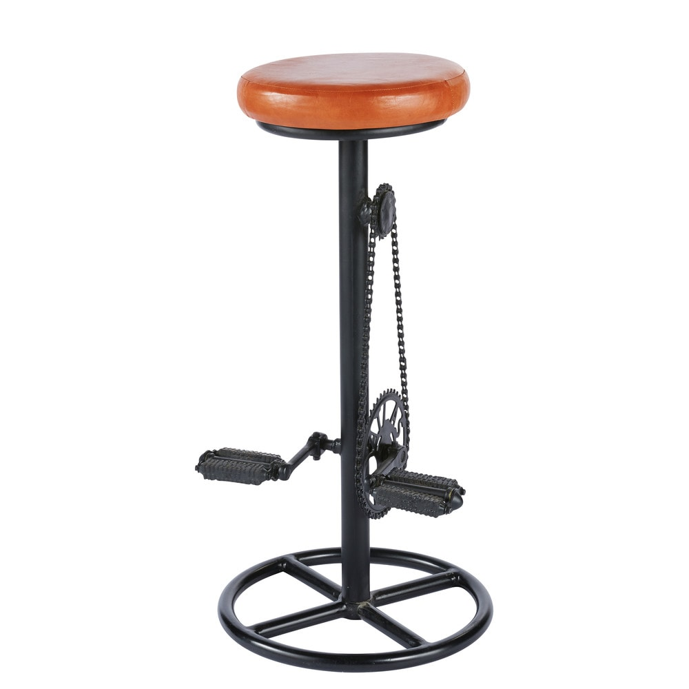 Tabouret de bar indus en cuir cognac et métal noir Bike (photo)