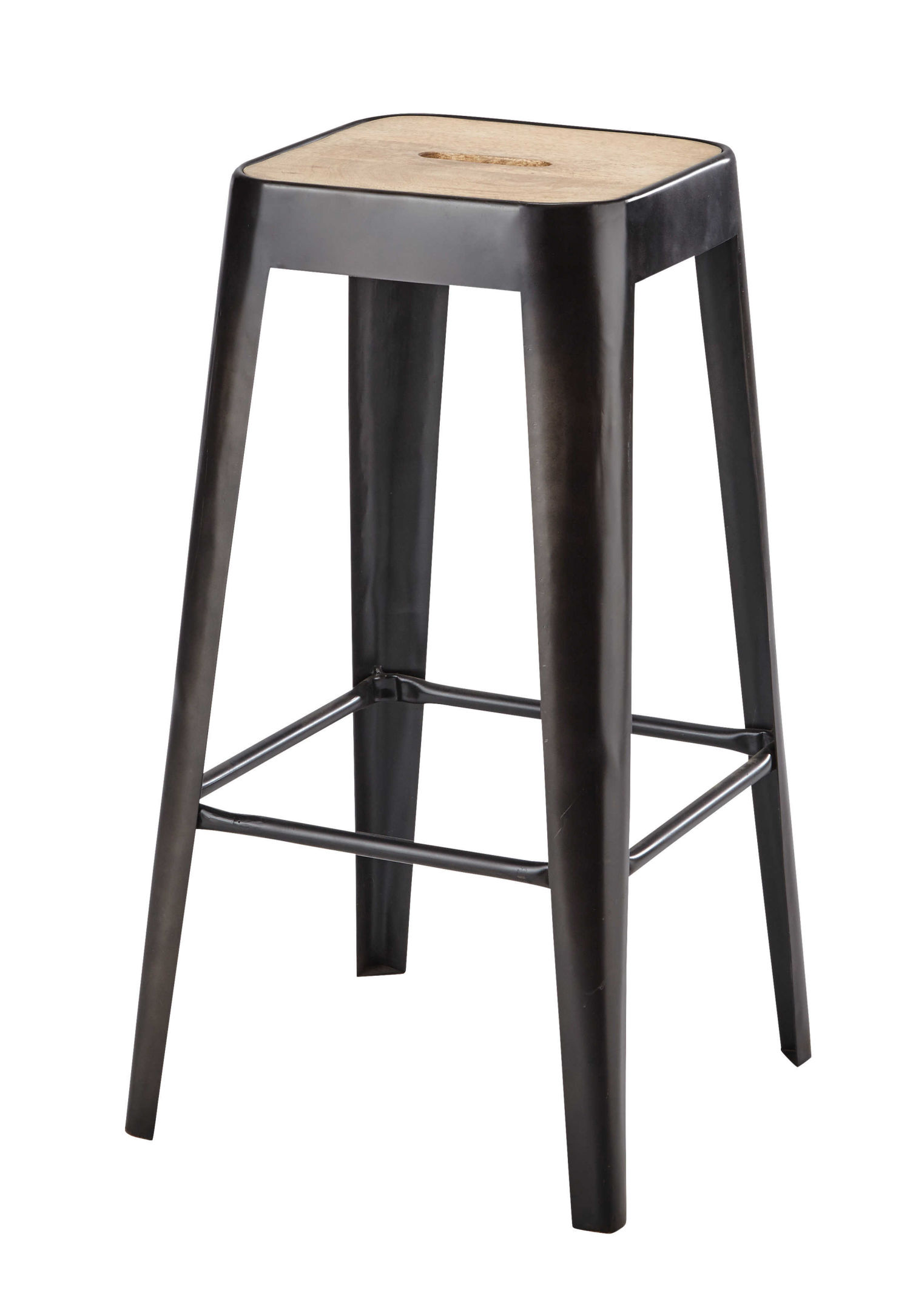 tabouret de bar indus en manguier et m tal maisons du monde. Black Bedroom Furniture Sets. Home Design Ideas