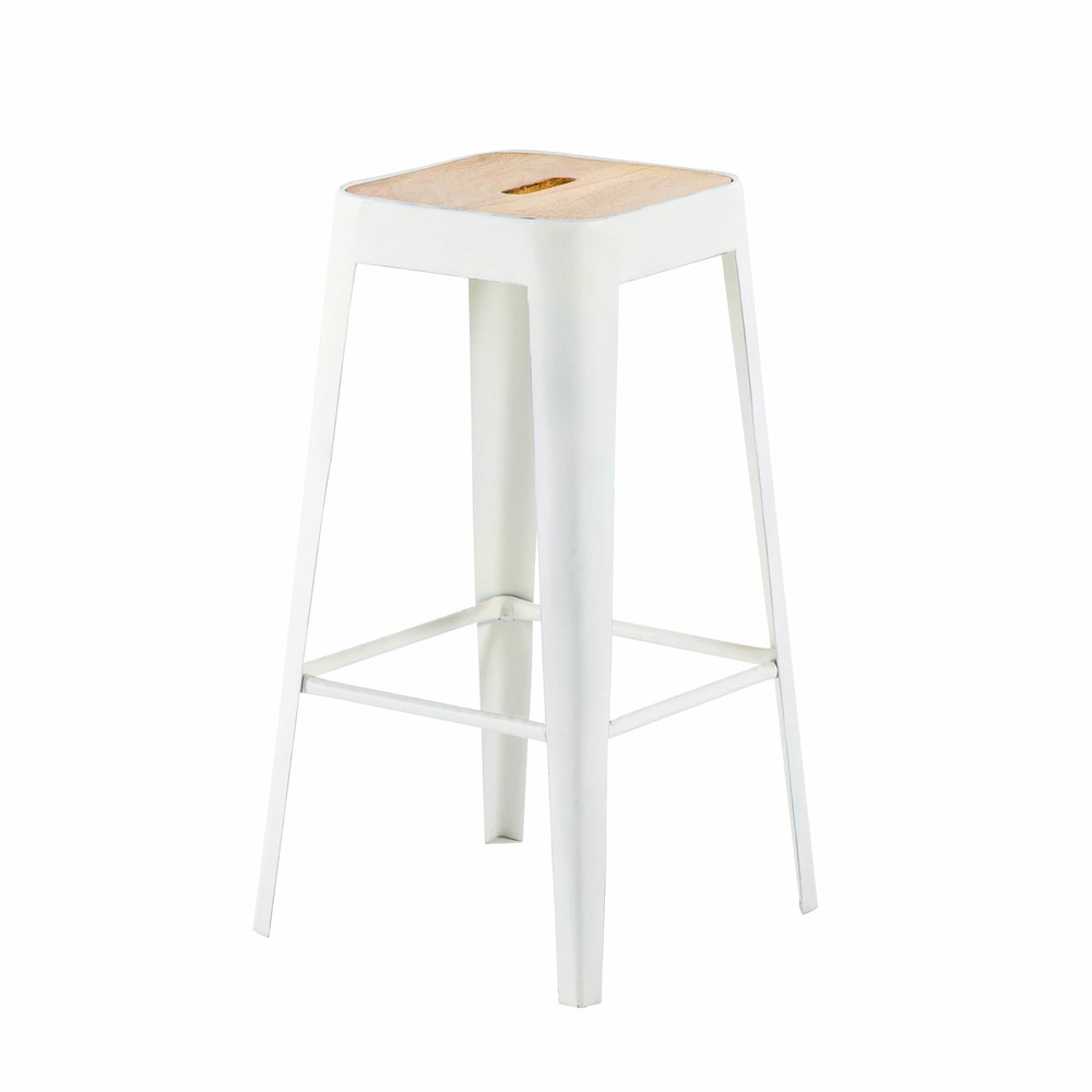 Tabouret de bar indus en métal blanc Manufacture (photo)