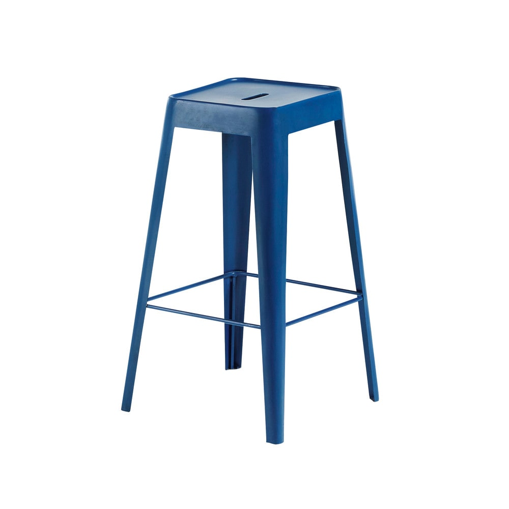 Tabouret de bar indus en métal bleu indigo Tom (photo)