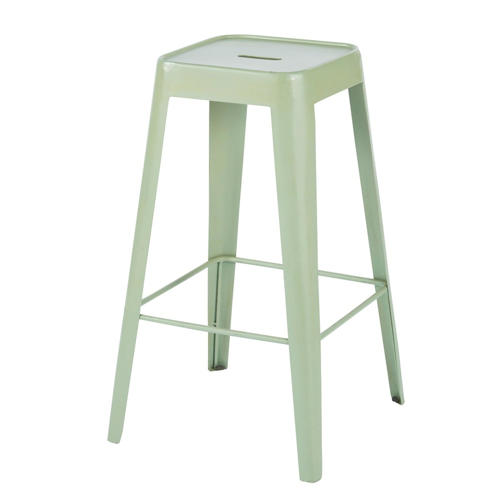 Tabouret de bar indus en métal vert clair Tom (photo)