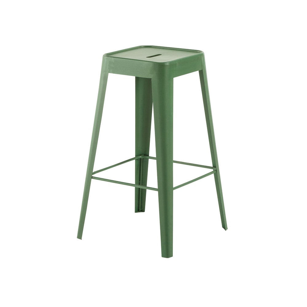Tabouret de bar indus en métal vert Tom (photo)