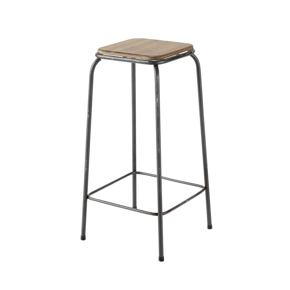 Tabouret de bar indus en sapin et métal Kraft (photo)