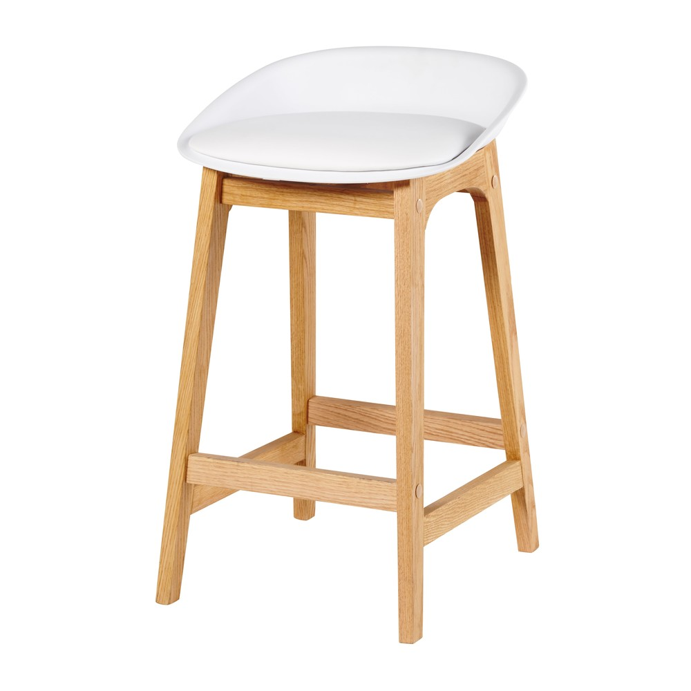 Tabouret de bar style scandinave blanc et chêne massif H73 Ice (photo)