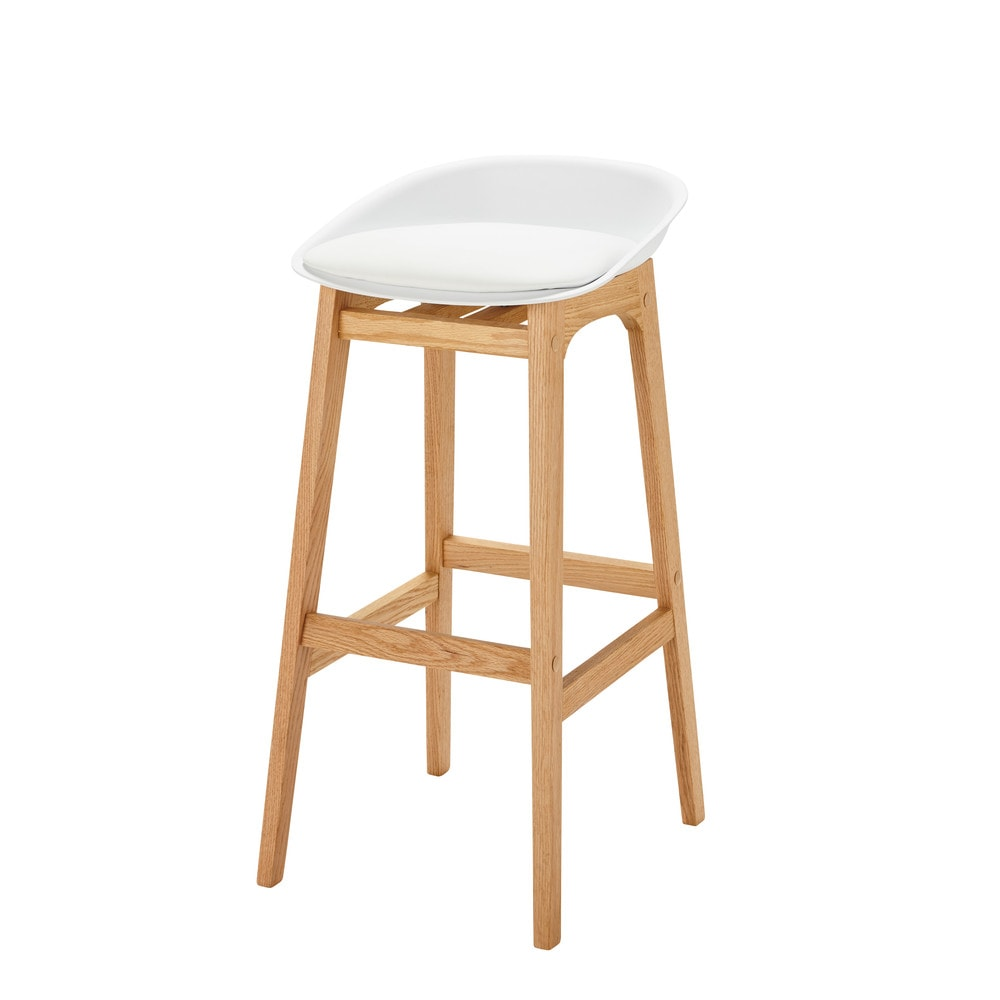 Tabouret de bar style scandinave blanc et chêne massif H88 Ice (photo)