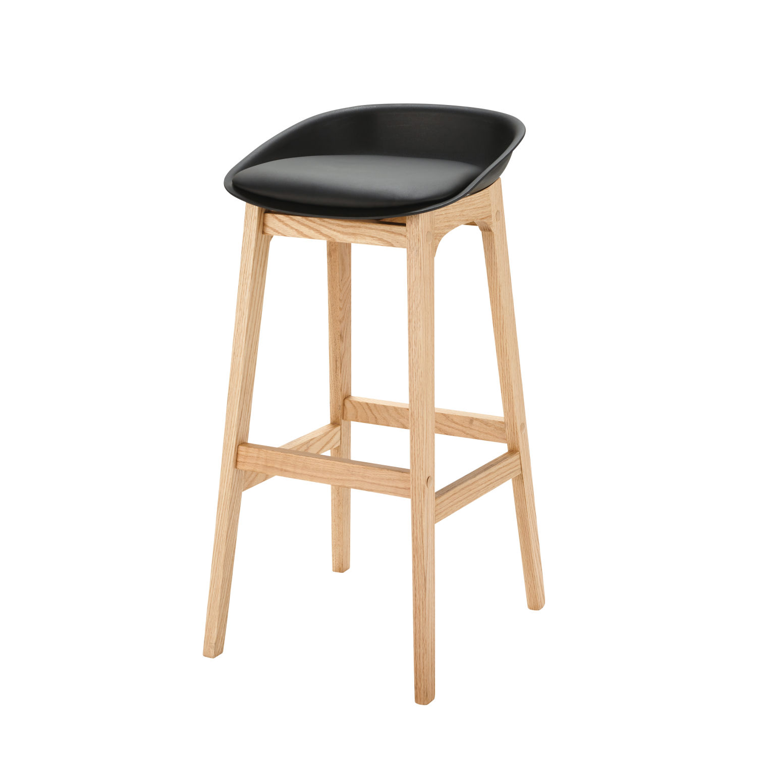 tabouret de bar style scandinave noir et ch ne massif h88 maisons du monde. Black Bedroom Furniture Sets. Home Design Ideas
