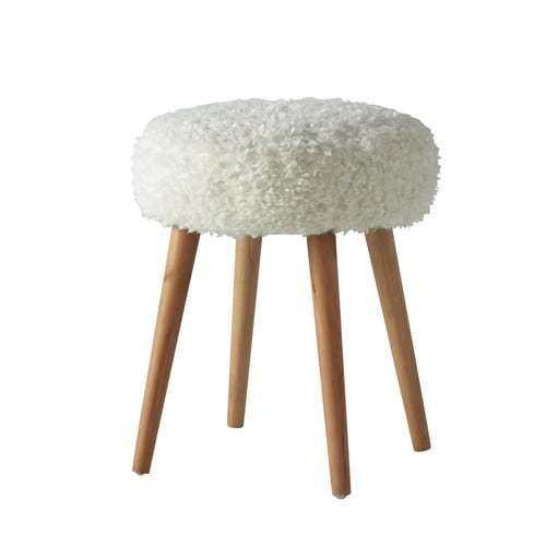 tabouret en fausse fourrure et bois blanc pin 39 up maisons du monde. Black Bedroom Furniture Sets. Home Design Ideas
