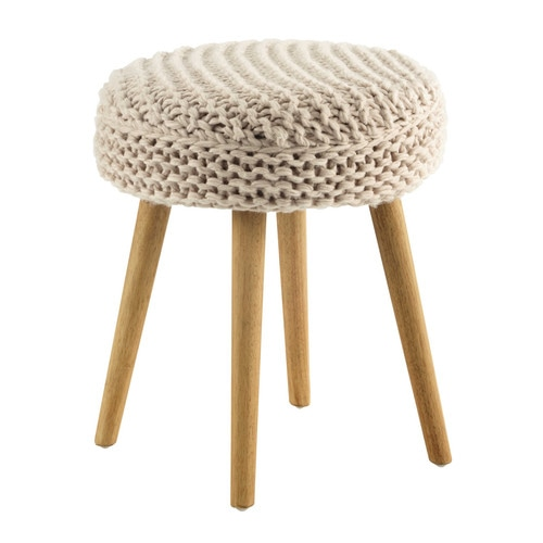 tabouret en laine rose et bois tricot maisons du monde. Black Bedroom Furniture Sets. Home Design Ideas