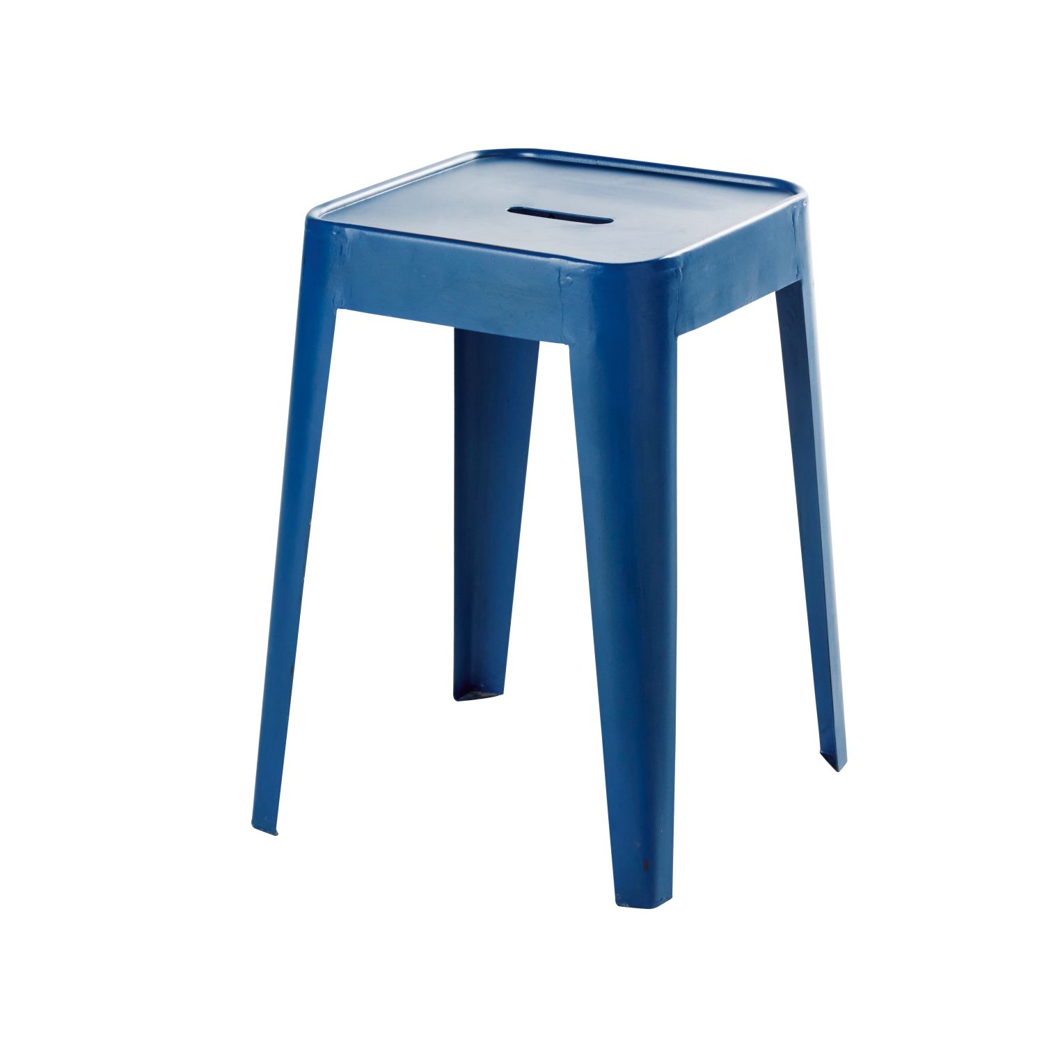tabouret indus en m tal bleu indigo maisons du monde. Black Bedroom Furniture Sets. Home Design Ideas