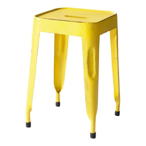 tabouret indus en m tal jaune jim maisons du monde. Black Bedroom Furniture Sets. Home Design Ideas