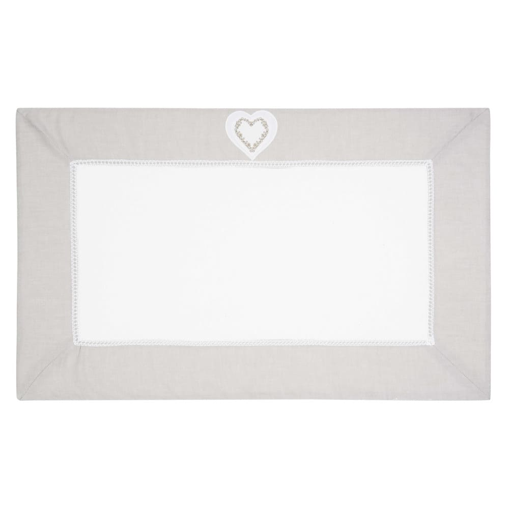 Tapis de bain en coton blanc 50 x 80 cm HEART (photo)