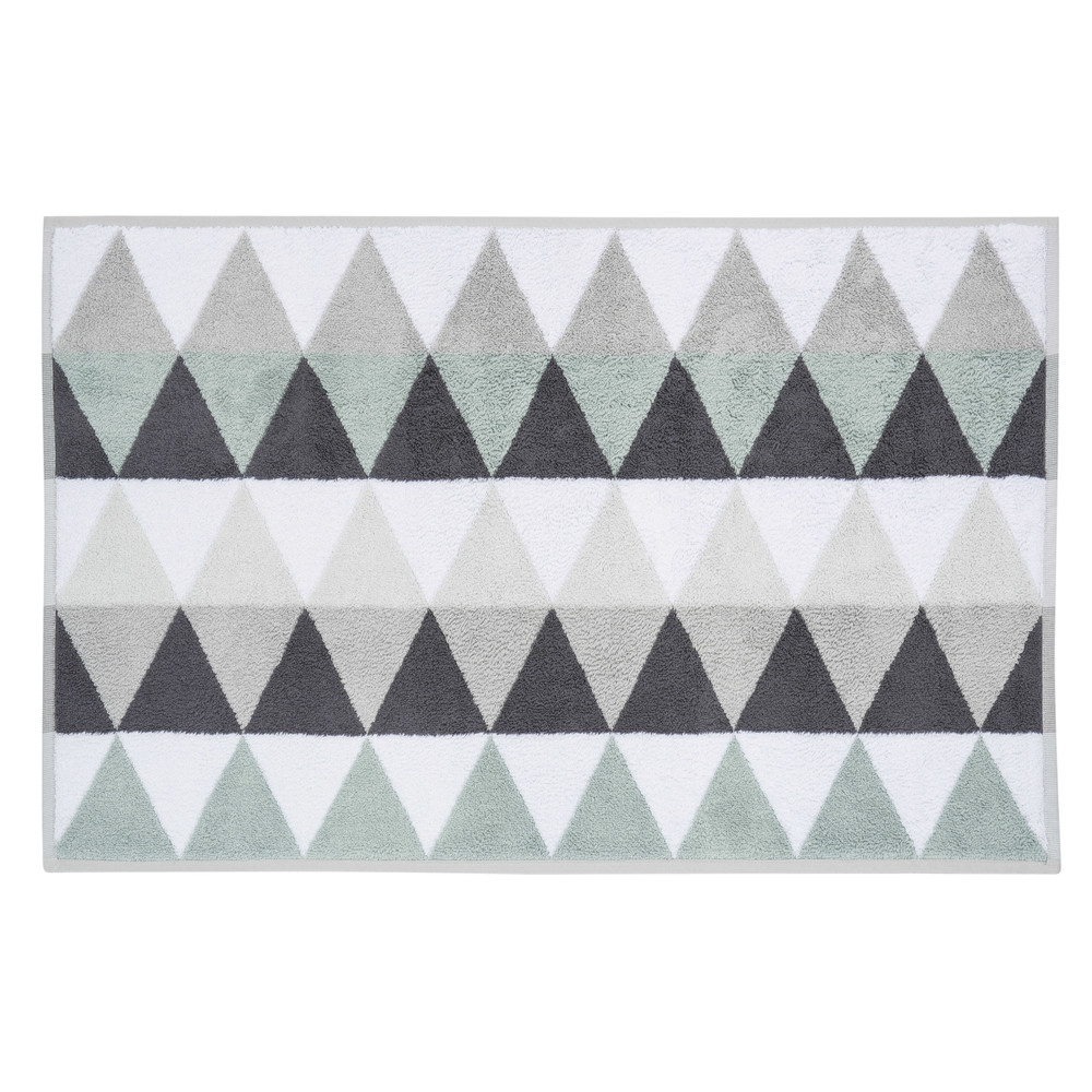 Tapis de bain en coton blanc/gris 50 x 80 cm TRIANGLE (photo)