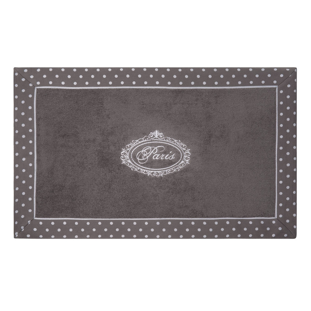 Tapis de bain en coton gris 50 x 80 cm PARIS (photo)