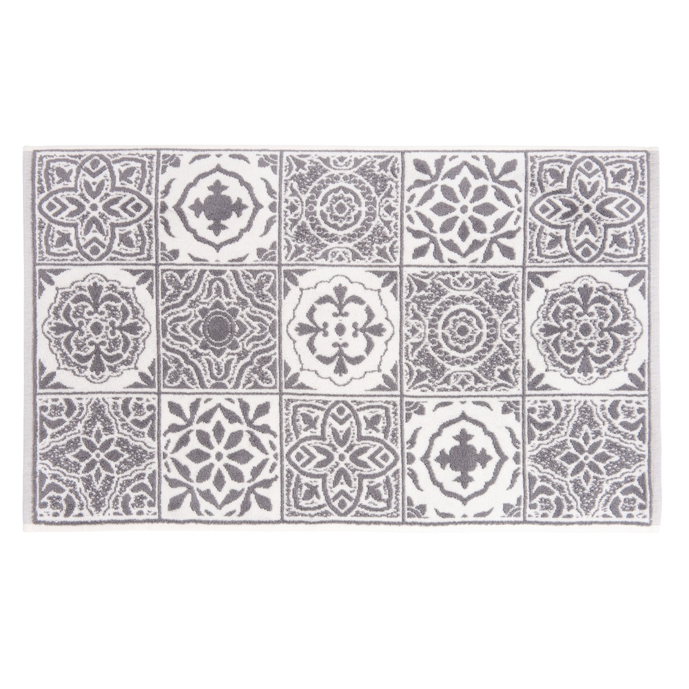 Tapis de bain en coton motifs carreaux de ciment 50x80 (photo)