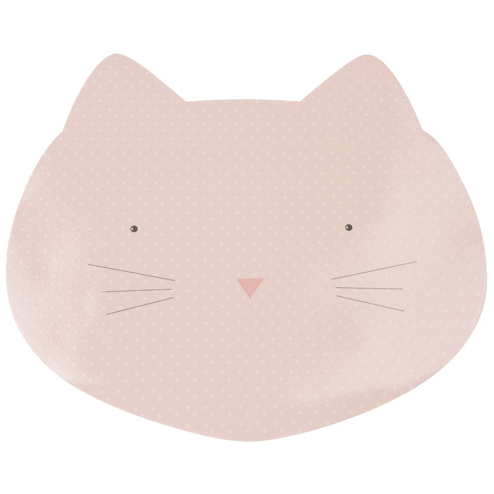 Tapis de gamelle tête de chat rose 43x32 (photo)