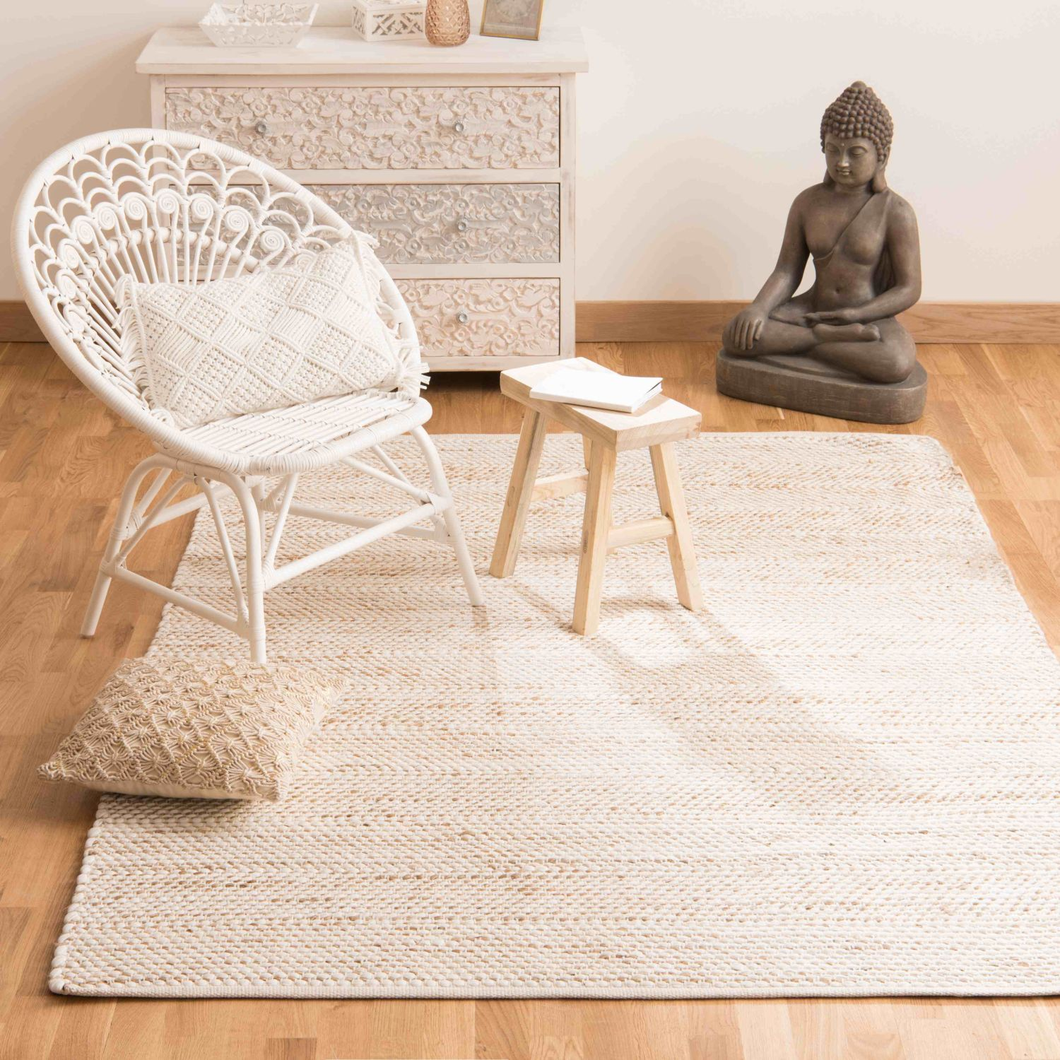 tapis en coton et jute 160x230 maisons du monde. Black Bedroom Furniture Sets. Home Design Ideas