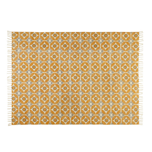 tapis en coton jaune moutarde 140x200cm blocalia maisons du monde. Black Bedroom Furniture Sets. Home Design Ideas