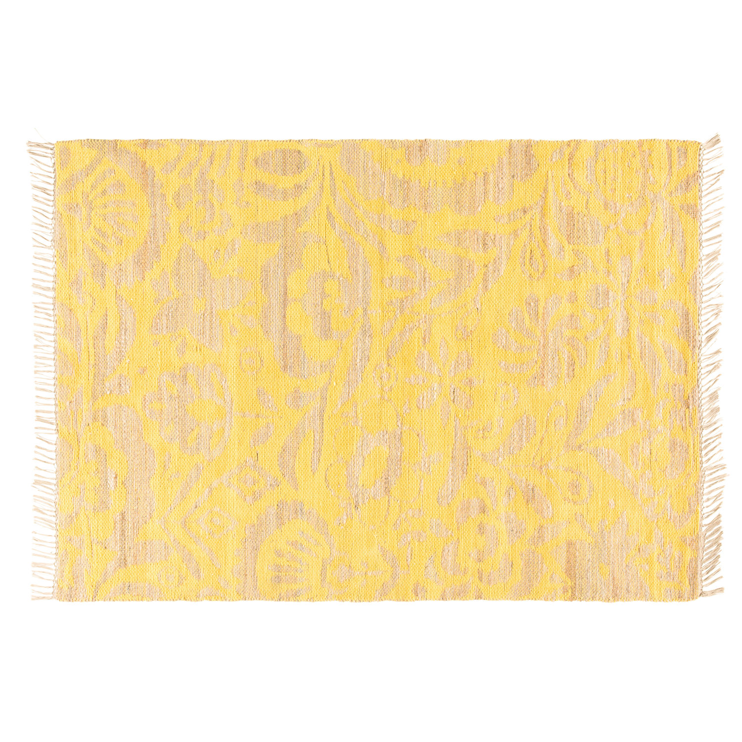 tapis en jute et coton motifs jaune moutarde 160x230 maisons du monde. Black Bedroom Furniture Sets. Home Design Ideas