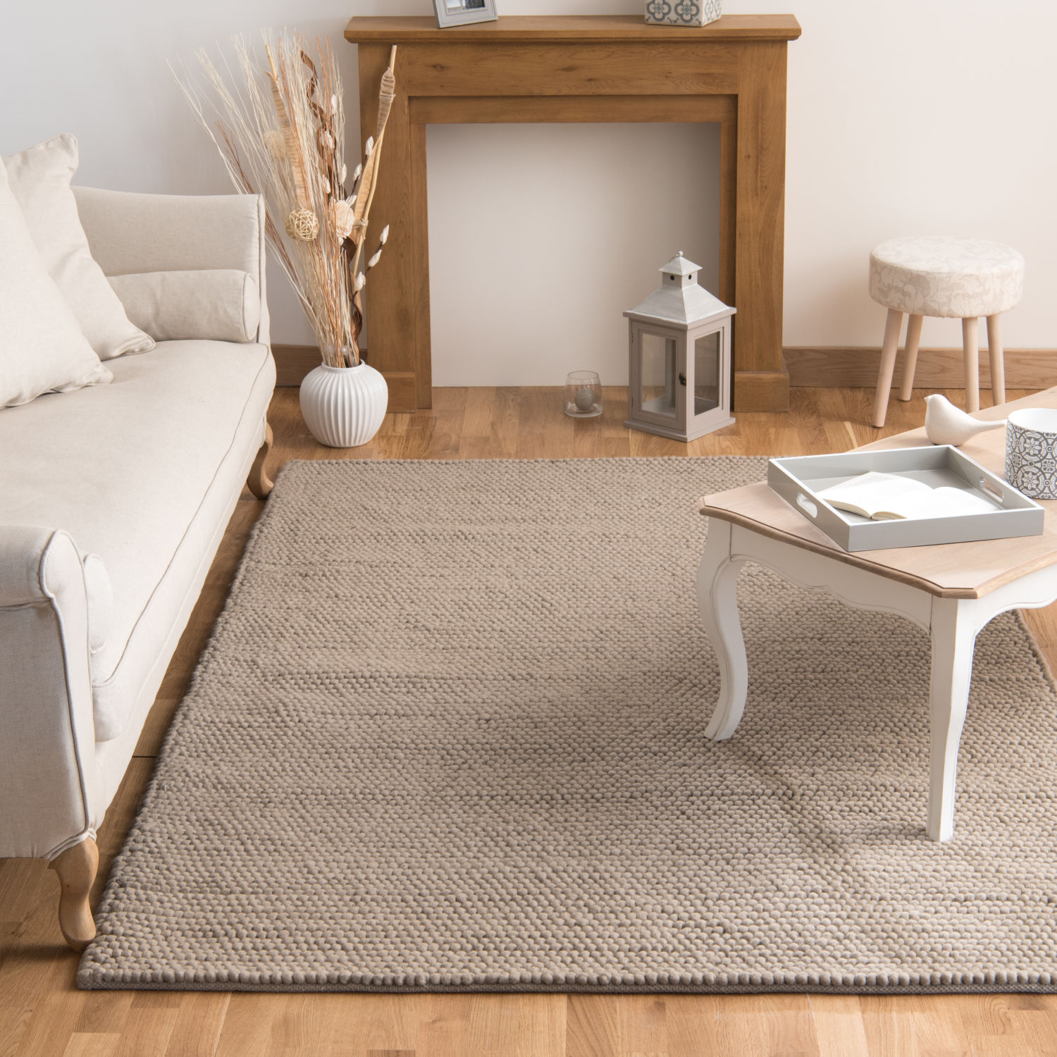 tapis en laine beige 160 x 230 cm maisons du monde. Black Bedroom Furniture Sets. Home Design Ideas
