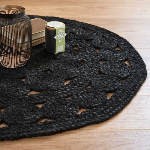 tapis rond en jute noir d 90 cm b ne maisons du monde. Black Bedroom Furniture Sets. Home Design Ideas