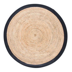 tapis rond tress en jute contour blanc d180 maisons du monde. Black Bedroom Furniture Sets. Home Design Ideas