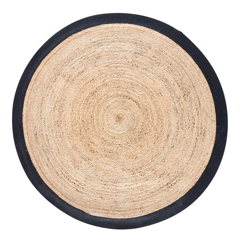 tapis rond tress en jute contour blanc d180 gaya. Black Bedroom Furniture Sets. Home Design Ideas