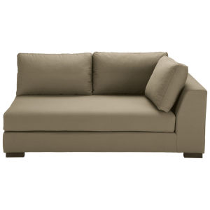 Taupe-coloured cotton modular sofa bed right armrest