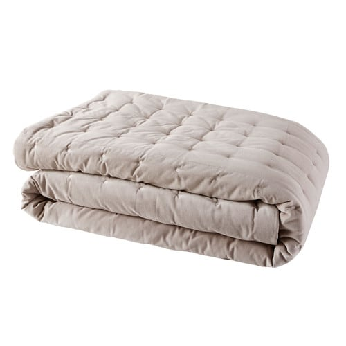 Taupe Velvet Quilted Bedspread 240x260
