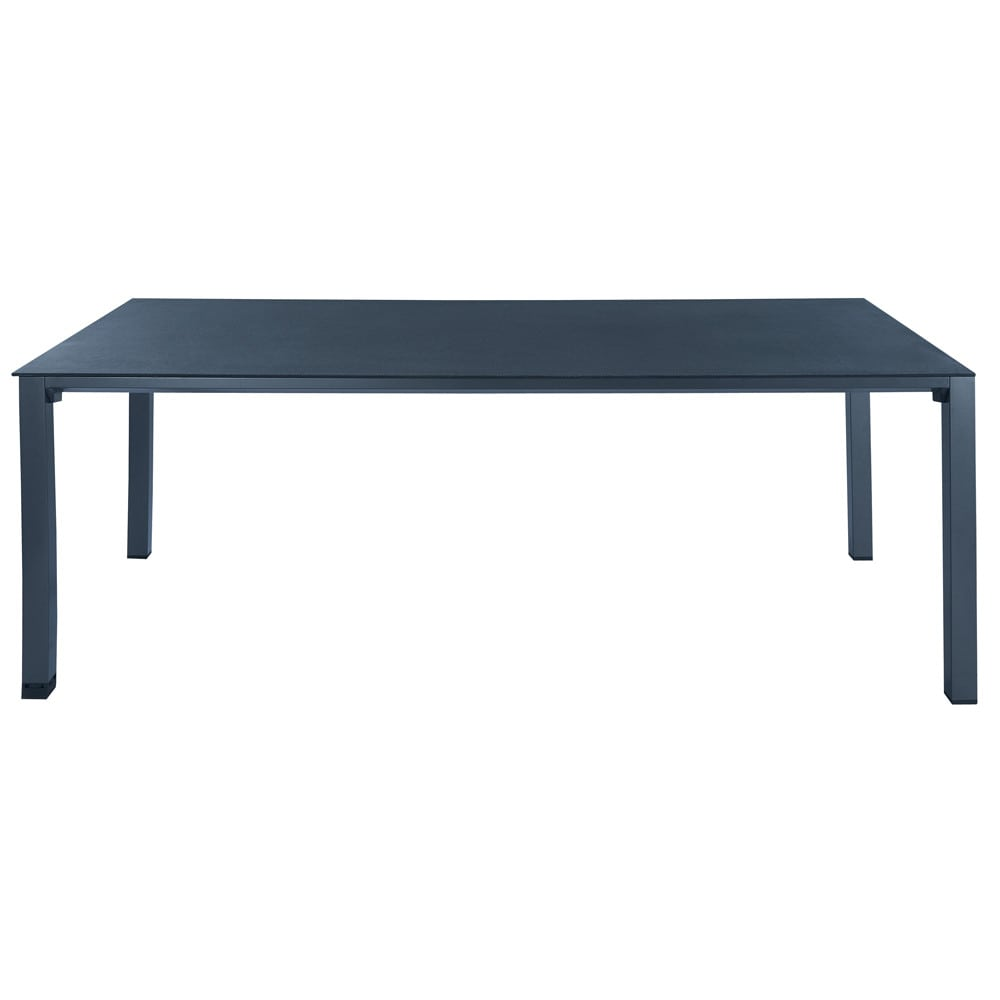 Tempered glass and aluminium garden table in charcoal grey W 220cm Square