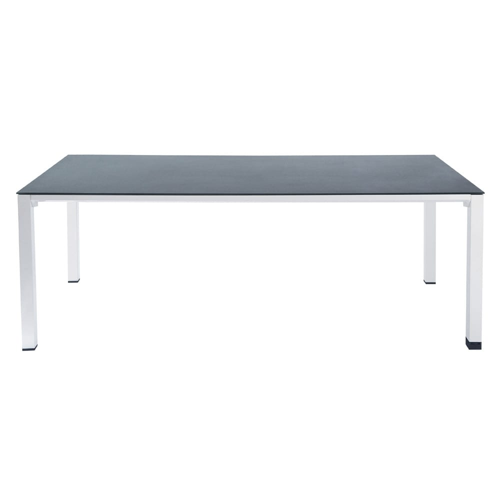 Tempered glass and aluminium garden table in grey W 220cm Square