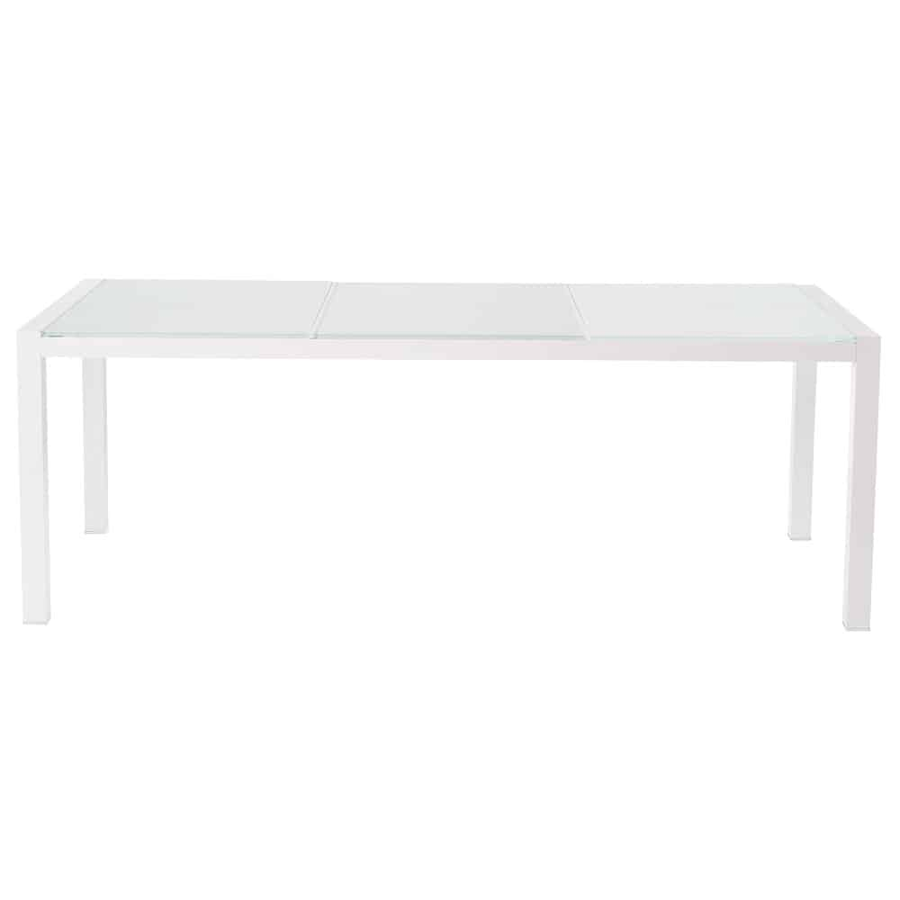 Tempered glass and aluminium garden table in white W 210cm