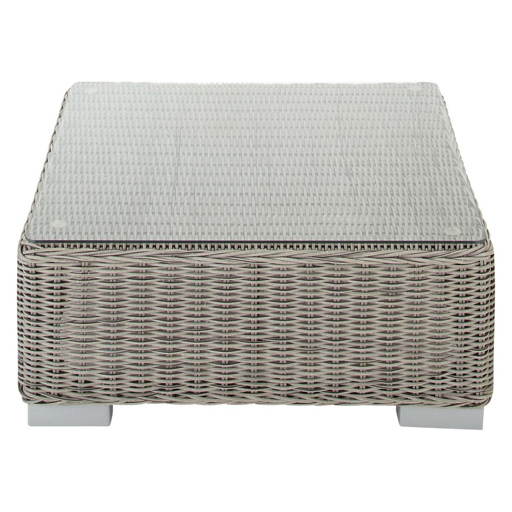 Tempered glass and resin wicker garden coffee table in grey W 77cm Cape