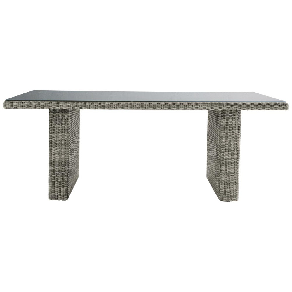 Tempered glass and resin wicker garden table in grey W 200cm Cape