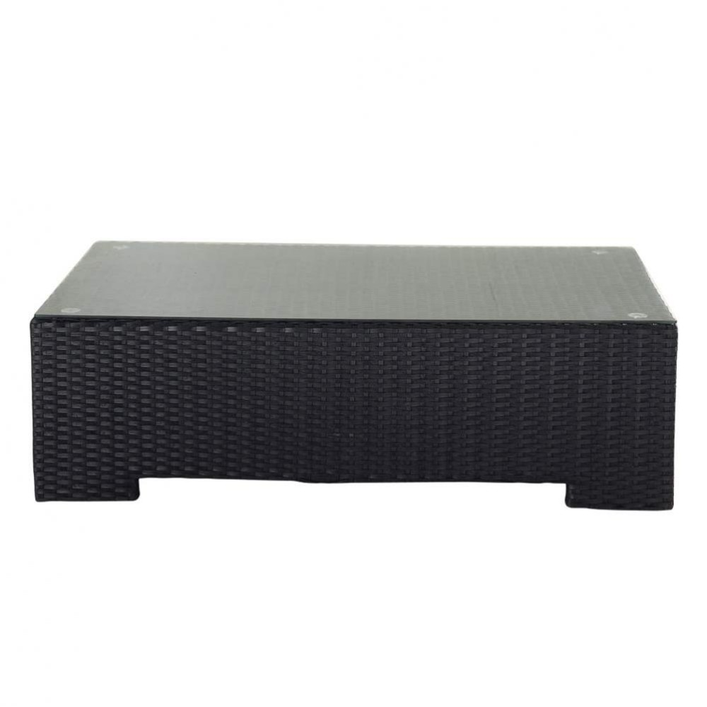 Tempered glass and wicker garden coffee table in black W 100cm