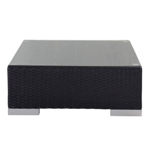 Tempered glass and wicker garden coffee table in black W 77cm