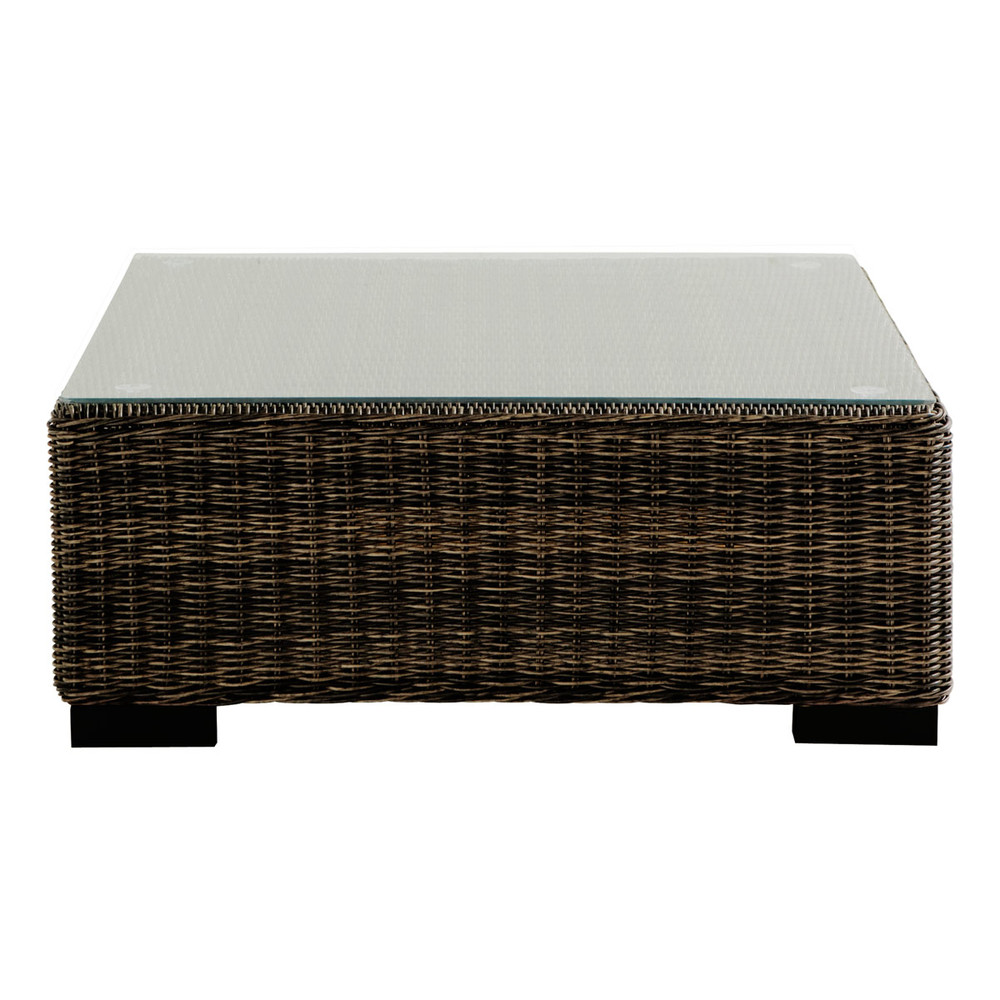 Tempered glass and wicker garden coffee table in brown W 73cm