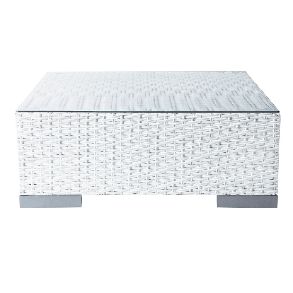Tempered glass and wicker garden coffee table in white W 77cm