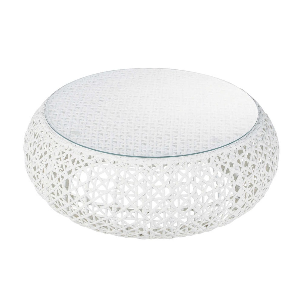 Tempered glass and wicker garden coffee table in white W 92cm