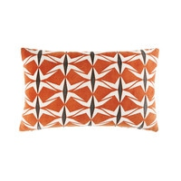 Terracotta Cotton Cushion with Graphic Motifs 30x50