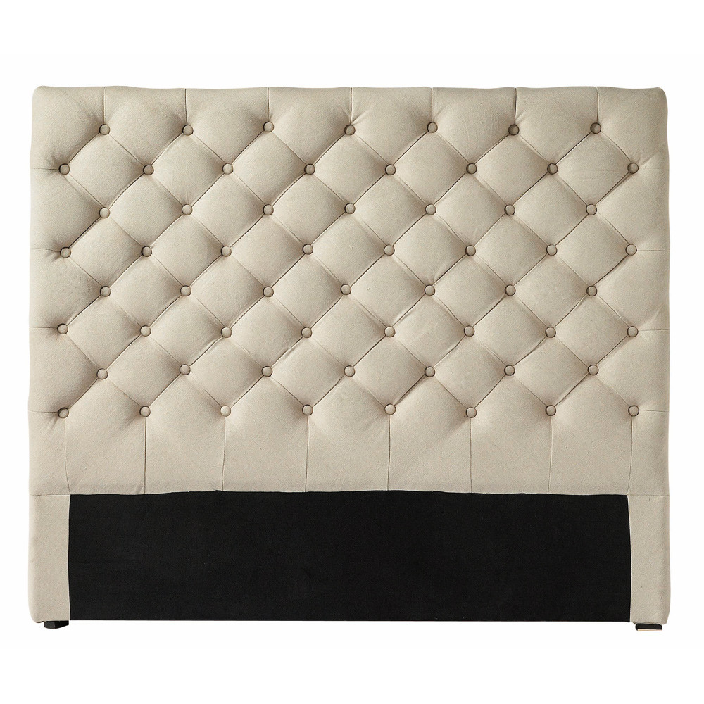 Tête de lit capitonnée en lin L 140 cm Chesterfield (photo)