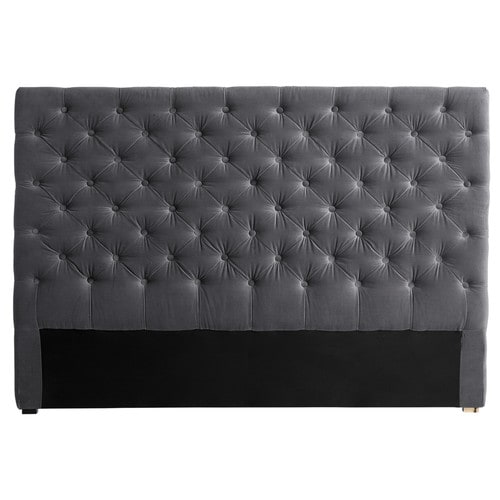 t te de lit capitonn e en velours grise l 160 cm chesterfield maisons du monde. Black Bedroom Furniture Sets. Home Design Ideas