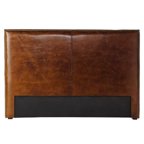 t te de lit en cuir marron effet vieilli l 160 cm andrew maisons du monde. Black Bedroom Furniture Sets. Home Design Ideas