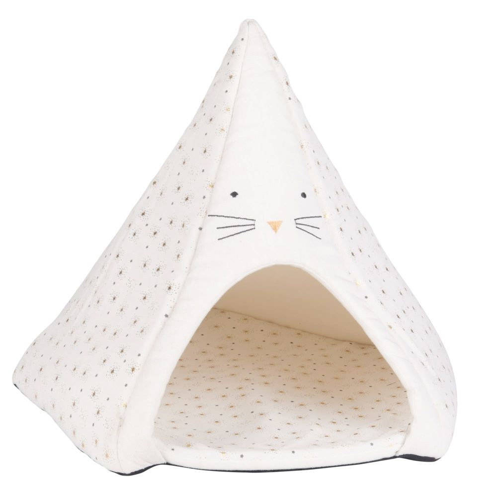 Tipi pour chat blanc imprimé (photo)