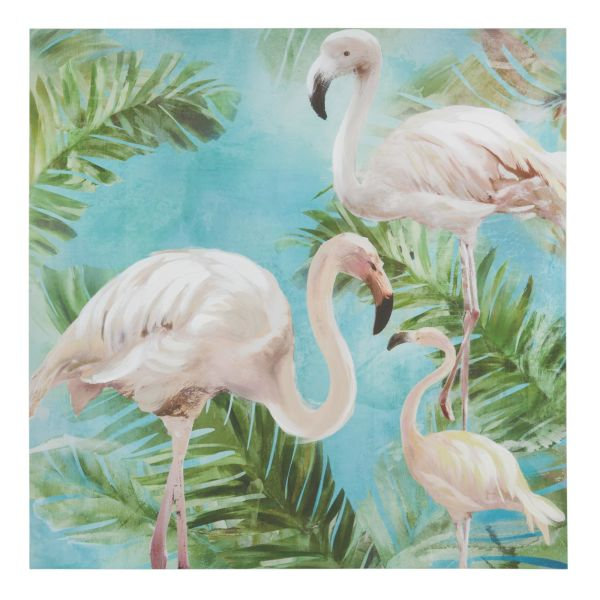 Toile 80 x 80 cm WHITE FLAMINGOS